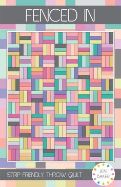 Free Quilt Pattern: Fenced In Throw Quilt 15 fat quarters or 50 strips Scrappy Quilt Patterns, Jellyroll Quilts, Easy Quilts, Quilt Blocks, Quilting Ideas, Beginner Quilt Patterns, Fat Quarters, Rail Fence Quilt, Jelly Roll Quilt Patterns