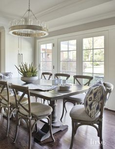 Transitional White Breakfast Area with Reclaimed Wood Table