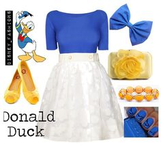Donald duck :) disney outfits :) all it needs is a red accent necklace. Or maybe make the bow red instead Disney Character Outfits, Cute Disney Outfits, Disney Themed Outfits, Character Inspired Outfits, Disney Dresses, Cute Outfits, Disney Clothes, Moda Disney, Disney Mode