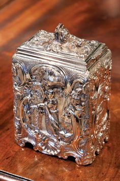 George III antique chased sterling-silver chinoiserie tea caddy 1762