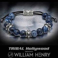 The William Henry DAUNTLESS BLUE SODALITE Beaded Mens Bracelet features vibrant blue stone beads, and large riveted sterling silver links to add a modern style. Jewelry Art, Beaded Jewelry, Silver Jewelry, Beaded Bracelets, Silver Ring, Designer Jewelry Brands, Silver Engagement Rings, Ring Engagement, Bijoux Diy