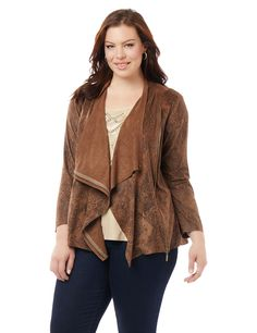 Black Label Park Slope Jacket   Catherines Top off your favorite seasonal ensembles with this stunning cascade. Its faux suede fabric features a lightly textured design for an earthy feel, while the classic moto-inspired styling is decidedly edgy. Zip closure. Long sleeves.