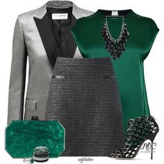 A fashion look from November 2014 featuring By Malene Birger tops, Yves Saint Laurent blazers and Jigsaw mini skirts. Browse and shop related looks. Fashion Days, Fashion Looks, Fashion Outfits, Womens Fashion, High Fashion, Executive Woman, Gold Outfit, Dresses For Less, Fashion Addict