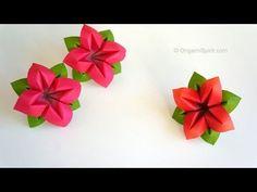 Origami Flower : : Flor de papel 4 Pétalos. Link download: http://www.getlinkyoutube.com/watch?v=0ZZAmGSSIfI