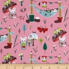 Mouse Camp Corduroy Mice & Mushrooms Pink from @fabricdotcom  From Windham Fabrics, this soft 18 wale (number of cords per inch) corduroy is classic, durable and versatile. It is perfect for creating stylish shirts, skirts, dresses, lightweight jackets and children's apparel.  Colors include rust, aqua, lime, green, brown and pink.