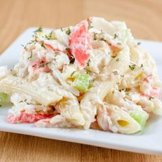 This pasta seafood salad recipe uses pasta and imitation crab. If you like imitation crab, this is a great salad idea to add to your recipe box along with potato salads, coleslaw, and chicken salads. Pasta Seafood Salad Recipe from Grandmothers Kitchen. Sea Food Salad Recipes, Fish Recipes, Seafood Recipes, New Recipes, Cooking Recipes, Healthy Recipes, Recipies, Seafood Appetizers, Cooking Tips