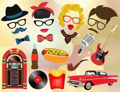 Instant Download 50's Photo Booth Props 1950s by OneStopDigital