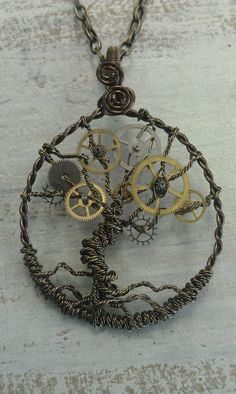 Steampunk Tree of Time Wire Wrapped Necklace with Watch Gears