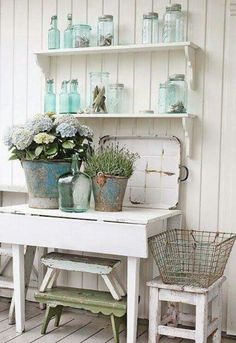 Blue jars, stacking stools, layered elements, awesome buckets