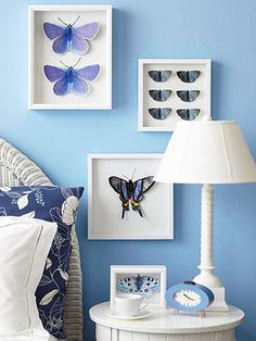 Get this trendy nature-inspired look by cutting butterfly pictures out of garden magazines or calendars. See this and more easy wall art ideas: http://www.midwestliving.com/homes/decorating-ideas/diy-wall-art/?page=2