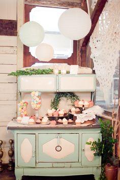 Gorgeous vintage style dessert table.