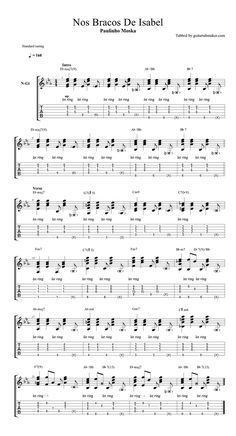 Paulinho Moska - Nos Bracos De Isabel acordes - Guitar Pro tab Awesome bossa nova guitar chords in standard tuning Sounds cool? Spanish Guitar Scales, Spanish Guitar Music, Classical Guitar Sheet Music, Sheet Music Pdf, Spanish Music, Guitar Tabs Acoustic, Guitar Tabs Songs, Guitar Solo, Guitar Tips