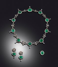 Lot 1462 - A cabochon emerald and diamond suite of jewellery, the necklace set with ten emeralds, each set Prom Jewelry, Royal Jewelry, Emerald Jewelry, Bridal Jewelry Sets, Sea Glass Jewelry, Diamond Jewelry, Gold Jewelry, Fine Jewelry, Diamond Earrings