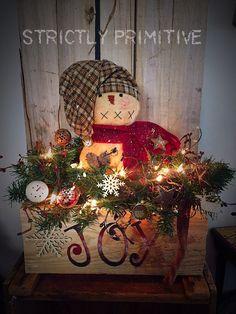 """Best of Both Worls Bundle of """"JOY"""" box - primitive floral arrangement - primitive snowman - primitive decor - primitive Christmas"""