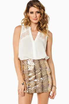 ADORE THIS! #Idrockit  ShopSosie Kiss Life Skirt in Champagne
