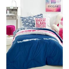 Dormify Reversible Ivy 3-Pc. Full Comforter Set ($50) ❤ liked on Polyvore featuring home, bed & bath, bedding, comforters, tie-dye bedding, navy blue comforter, floral comforters, tie dye comforter and navy blue comforter sets
