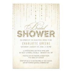Sparkly Gold Glitter Bridal Shower Invitation