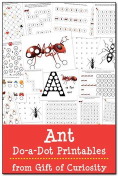 Ant do-a-dot printables with 17 pages of learning activities for kids ages 2-5. #DoADot #handsonlearning #ants || Gift of Curiosity