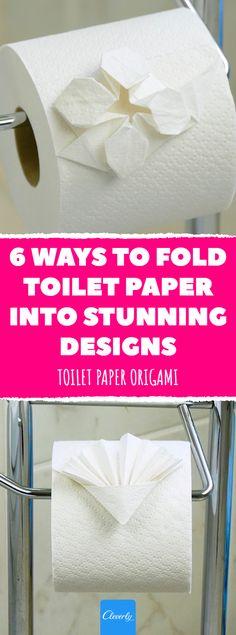 Toilet Paper Origami: 6 Ways To Fold Toilet Paper Into Stunning Designs Toilet Paper Origami, Paper Folding, Origami Folding, Crafts To Make, Diy Crafts, Bathroom Hacks, Pinterest Crafts, Home Hacks, Cleaning Hacks