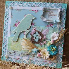 """Открытка """"Светлая Пасха"""" - голубой,Открытка ручной работы,открытка,открытки"""