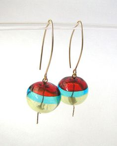 Lampwork glass earrings. Tricolor transparent hollow by anatglass