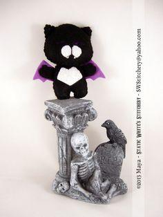 Black Purple Nyanpire Neko Keychain Charm Plush by SWStitchery