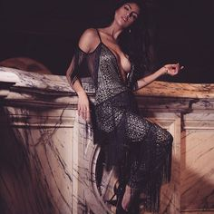 LUXE TO KILL⚡ Our  Alcidea  deep V plunge lace fringed  jumpsuit c2a86d4d8