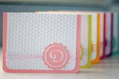 Cricut World: Monogrammed Note Cards. Made with Cricut Lyrical Letters