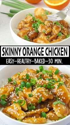 This Skinny Baked Orange Chicken is a 30 minute meal, perfect for an easy weeknight dinner! The chicken is baked then tossed with a homemade Orange Sauce Skinny Orange Chicken, Baked Orange Chicken, Orange Chicken Sauce, Healthy Orange Chicken, Healthy Chicken Sauce, Crockpot Orange Chicken, Chicken Stir Fry, Chicken Salad, Baked Chicken