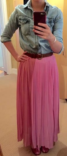 The Girl With Nothing to Wear: Chambray top, pink skirt, casual style, spring style