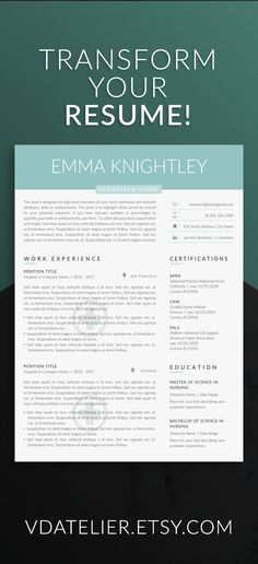 Nurse resume template for modern professionals Suitable as - resume doctors