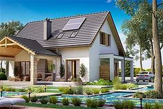 Projekt domu Amor 117,31 m2 - koszt budowy 189 tys. zł - EXTRADOM Home Fashion, Exterior, Cabin, Mansions, House Styles, Outdoor Decor, Home Decor, Plane, Amor