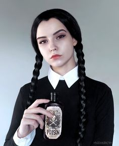 wednesday addams makeup style cosplayfanatics: Wednesday Addams by NMamontova Soirée Halloween, Halloween Inspo, Halloween Makeup Looks, Diy Halloween Costumes, Costume Ideas, Wednesday Addams Costume Makeup, Wednesday Adams Costume, Wednesday Addams Cosplay, Addams Family Wednesday