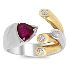 Artistry Collections 14k Two-tone Gold 1/4ct TDW Diamond and 1 1/10ct TGW Ruby Ring