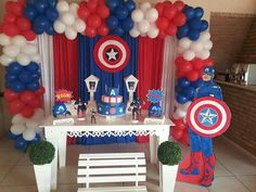 Captain America Party, Captain America Birthday, Holiday Treats, 5th Birthday, Special Day, Spiderman, Balloons, Crafts For Kids, Birthdays