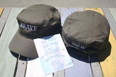 Brave Embroidered Military Hat, Army Cadet Cap, Inspirational Gift, Cancer gift, Chemo Gift, Brave Girl, Breast Cancer Hat, Survivor Gift Cancer Fighter, Brave Girl, Valentine Gifts For Mom, Breast Cancer Gifts, Hat Making, Inspirational Gifts, Military Fashion, Mom Birthday Gift