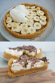 Banana cream pie Easy recipe for Banana Cream Pie. The cake that you have to bake for the Super Bowl finals in American football. Low Carb Dessert, Pie Dessert, Banana Recipes, Cake Recipes, Easy Desserts, Delicious Desserts, Vegan Banoffee Pie, Afternoon Tea Recipes, Kolaci I Torte