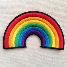 Rainbow Iron On Embroidery Patch by PandaSevenShop on Etsy