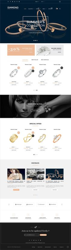 Diamond is a wonderful #PSD template for luxury #jewelry store #eCommerce website with 6 homepage layouts and 50+ layered PSD files download now➩ https://themeforest.net/item/diamond-multipurpose-luxury-ecommerce-psd-template/19494741?ref=Datasata