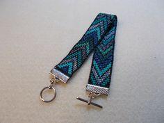 Turquoise chevron bead-loomed bracelet by MoonriseCreations