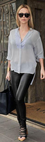 charlize theron; shoes-louboutin, shirt-stella mccartney