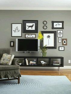 TV blends in with wall art.  One option for the family room if we mounted the tv.