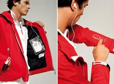 This solar power jacket can recharge your iDevice. It's waterproof and even has controls on the sleeve. Need this!