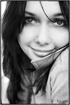 Because of the smile... | woman, black and white, brunette