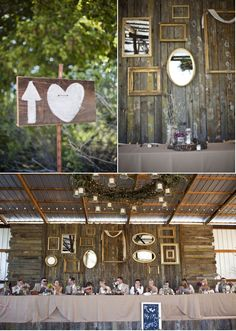 Love the frames on the wall and the sign in front of the wedding party table.