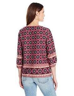 ca31bb388c4 Ella Moon Women s Marguerite Three-Quarter-Sleeve Top with Tassels at Amazon  Women s Clothing store