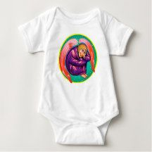 Shop Sleppy angel baby bodysuit created by coloranda. Gender Neutral Baby Clothes, Gender Neutral Baby Shower, Consumer Products, Baby Design, Baby Bodysuit, Cotton Tee, Baby Kids, Bodysuits, Angels