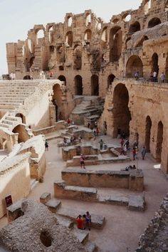 Vista panorámica del anfiteatro de El Djem en Túnez
