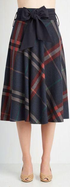 plaid A line skirt... | Street Fashion