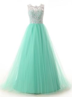 Elegant A-line Scoop Floor Length Tulle Homecoming Dress,